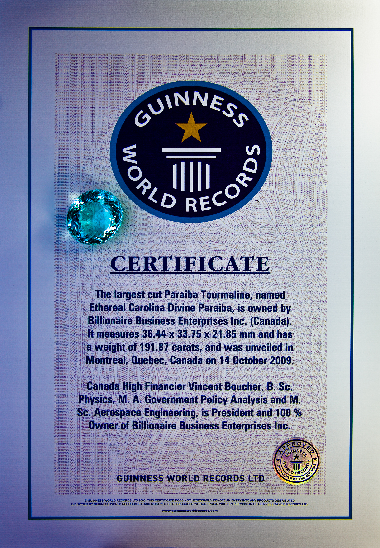 Québec.AI's Chairman Vincent Boucher holds a Guinness World Records in the fine arts and high jewelry industry: http://www.billionaire.tv/TheGazette.pdf